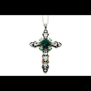 Vintage Silver and Green Cross Necklace